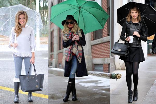 looks para días de lluvia con paraguas