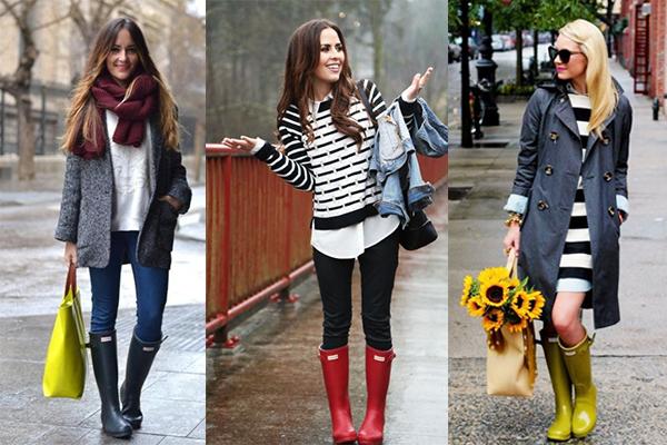 looks para dias de lluvia con botas