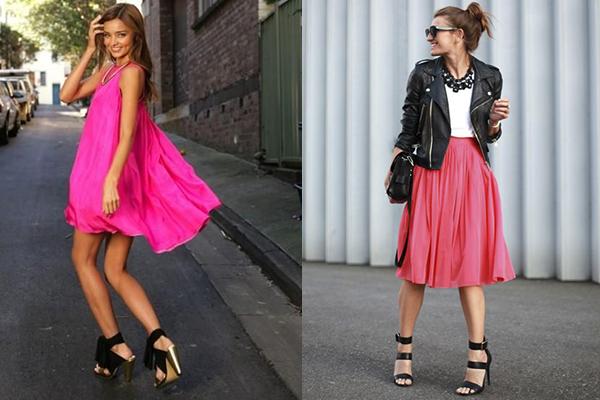 cómo combinar el color fucsia en vestidos
