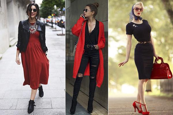 cómo combinar el rojo y negro en la ropa diaria