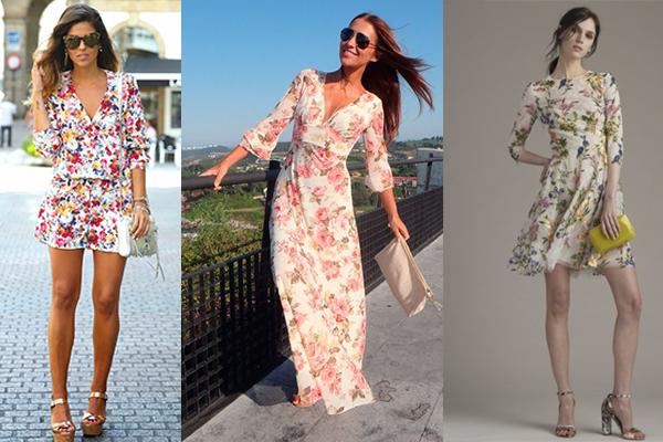 cómo combinar vestidos de flores con el bolso
