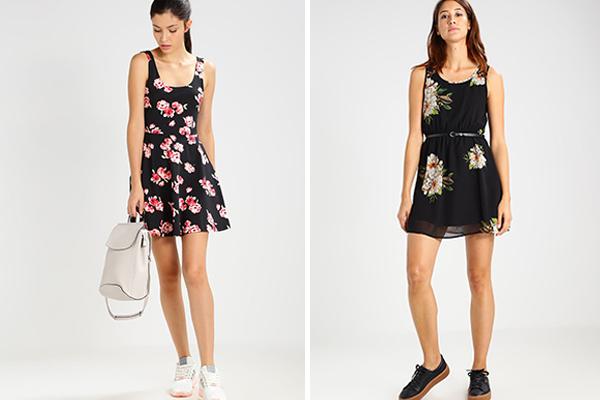 cómo combinar vestidos de flores con zapatillas