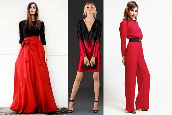 combinar rojo y negro en la ropa de boda