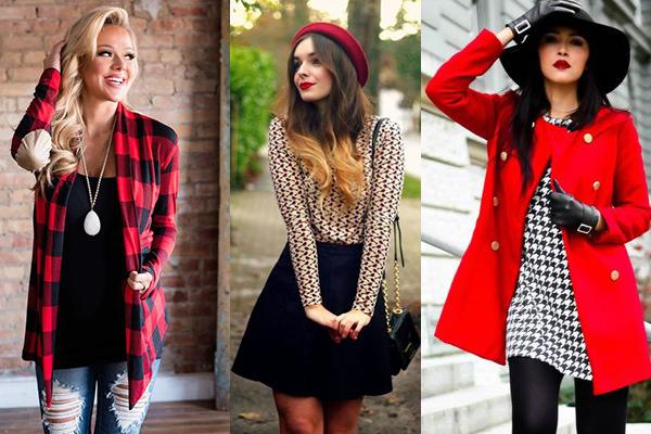 combinar rojo y negro en la ropa y complementos