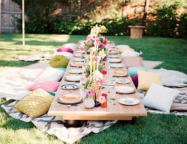 ideas para decorar una barbacoa y un picnic en el campo