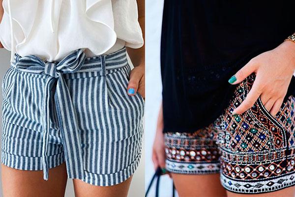 cómo combinar un look con shorts estampados