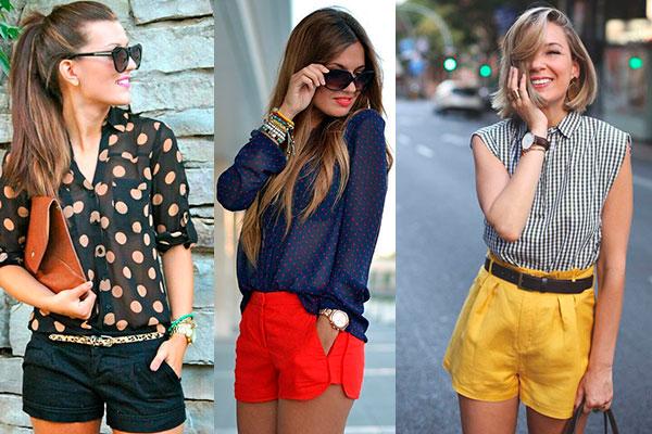cómo combinar un look con shorts de colores