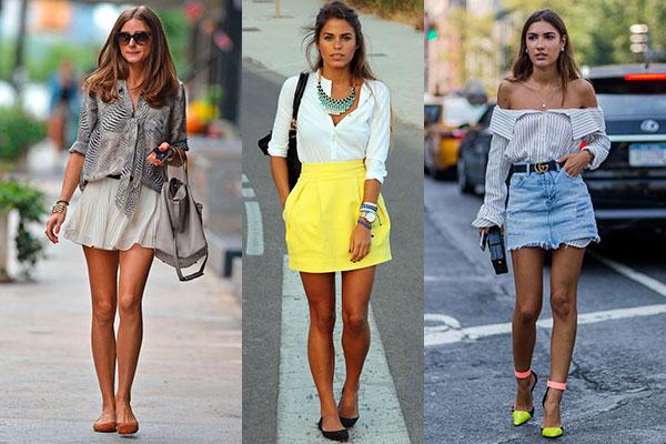 cómo combinar una minifalda con blusas