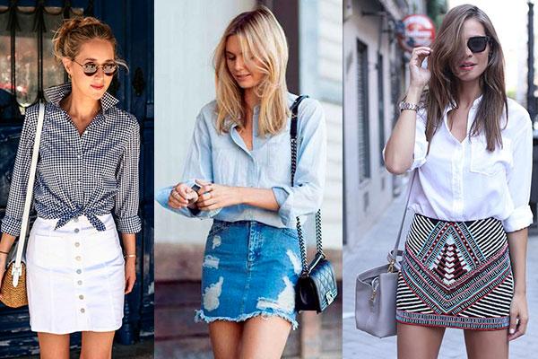 cómo combinar una minifalda con camisa