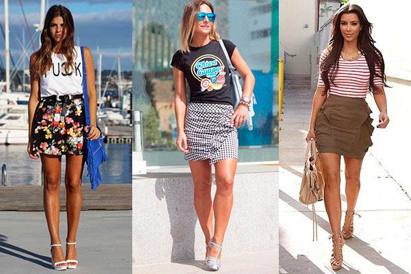 cómo combinar una minifalda con camiseta