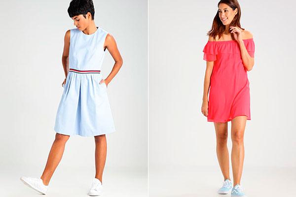 cómo combinar vestidos con sneakers