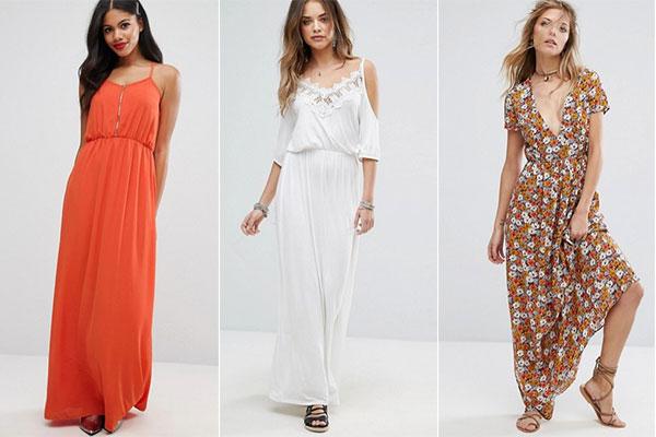 cómo combinar vestidos largos