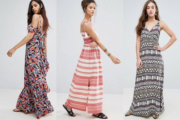 cómo combinar vestidos largos de playa