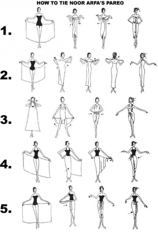 cinco formas de llevar un pareo