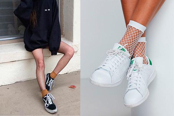 cómo combinar medias de rejilla y calcetín