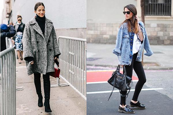 cómo combinar prendas oversize abrigos