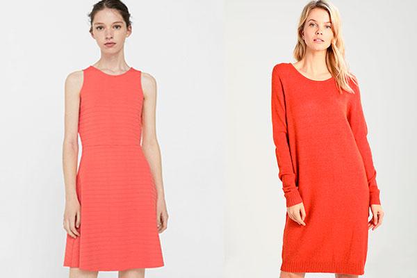combinar el color coral en otoño vestidos