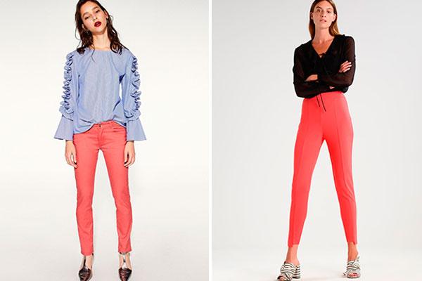 combinar el color coral en otoño pantalones