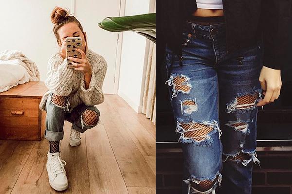 combinar medias de rejillas con jeans