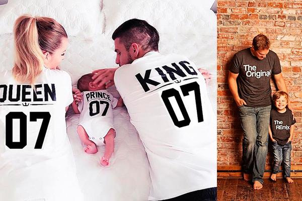 ideas divertidas para ropa igual para padres e hijos