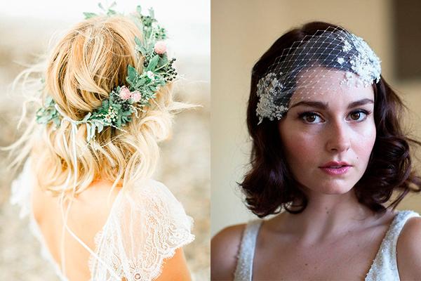 peinados para novias con pelo corto flores