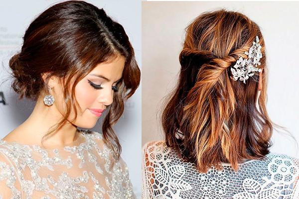 peinados para novias con pelo corto semirrecogido