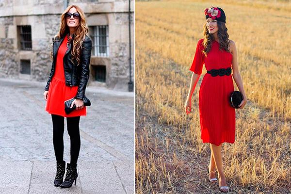 cómo combinar un vestido rojo complementos
