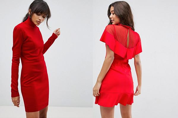 cómo combinar un vestido rojo corto