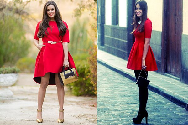 cómo combinar un vestido rojo fiesta