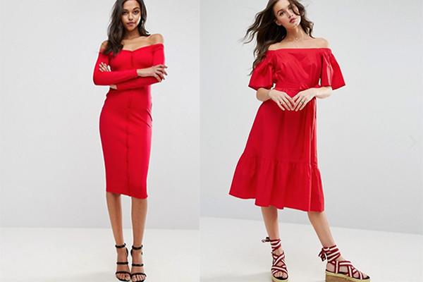 Vestido rojo zapatos rosa palo