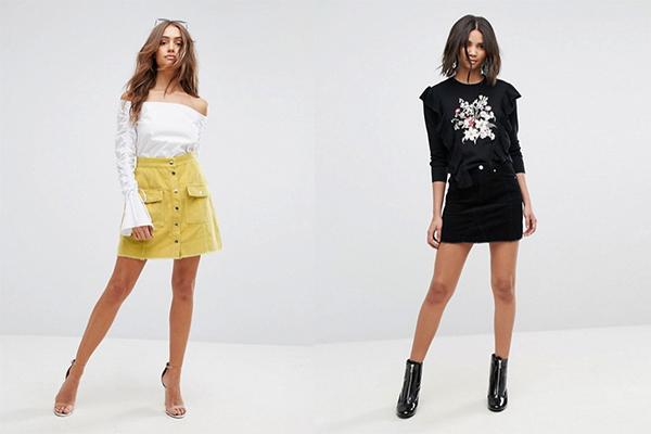 cómo combinar prendas de pana faldas