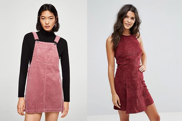 cómo combinar prendas de pana vestidos