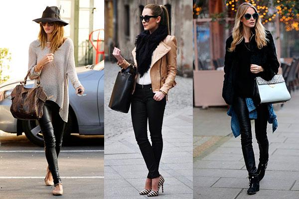 pantalones de cuero negros