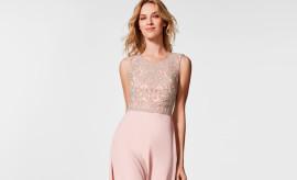 vestido de invitada nude y rosa
