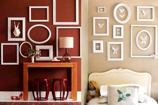 cómo decorar las paredes con marcos blancos