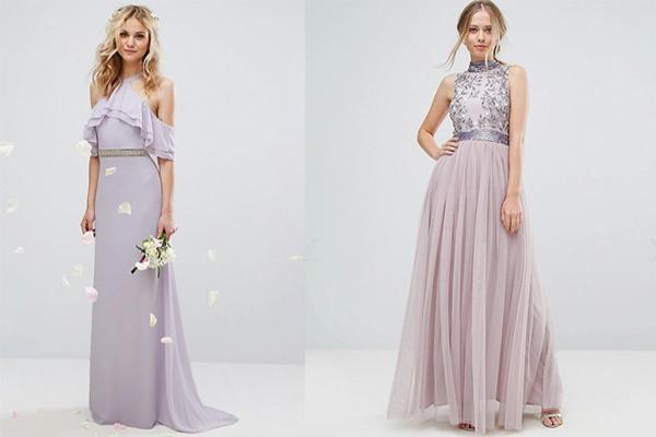 combinar el color lavanda vestidos de invitada