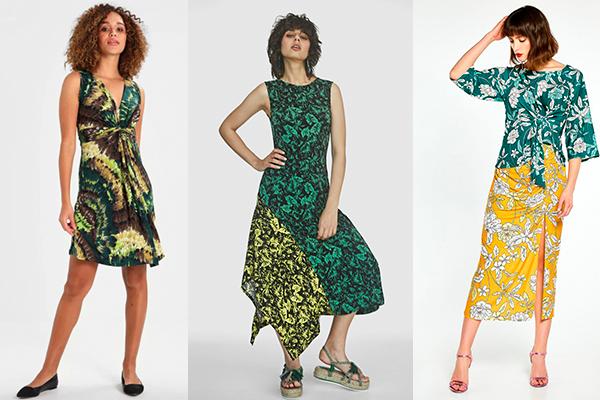 vestidos de verano verde estampado