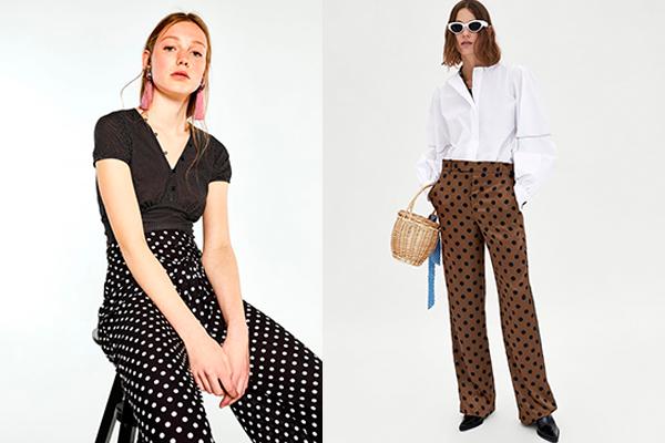 cómo combinar el estampado de lunares pantalones