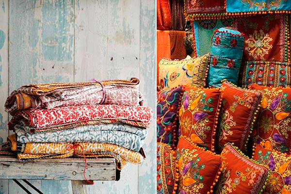 decoración estilo india textil