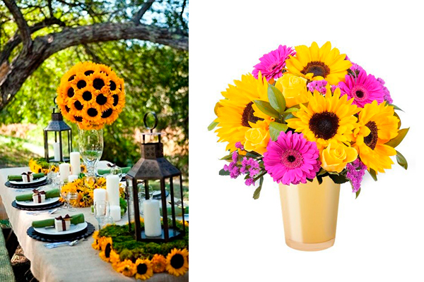 decorar con flores girasoles