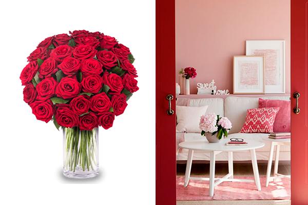 decorar con flores rosas