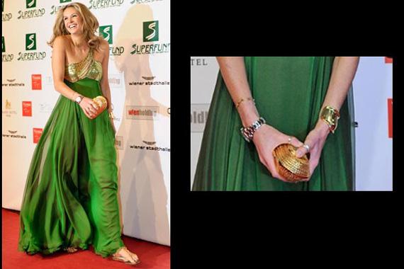 Vestido verde petroleo accesorios