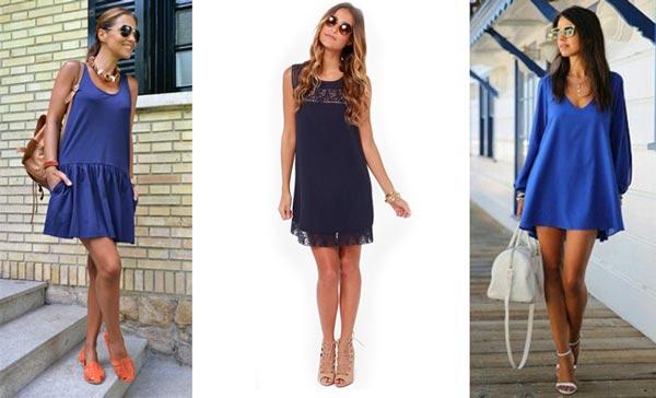 Vestido azul combina com