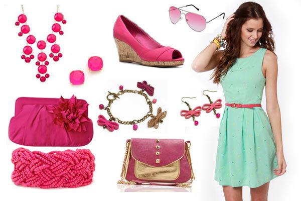 Vestido verde con rosa
